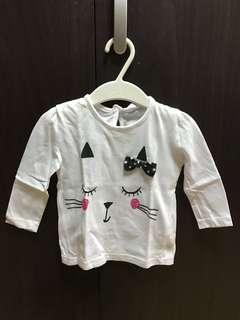 F & F long sleeves white with cat design used once