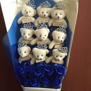 9 Rose & 9 bear bouquet Gift for birthday anniversary