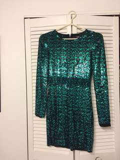Bedo Teal Sequin Fitted Dress