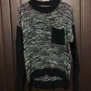 Black And White Wool Sweater