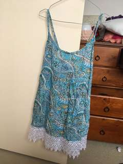 Paisley Dress with Lace Trim
