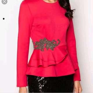 Zalia fuchsia peplum blouse