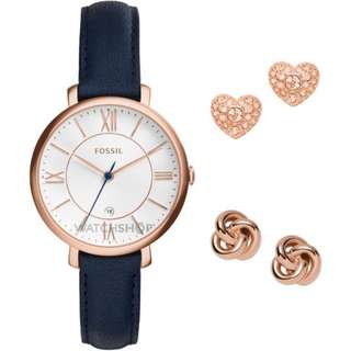 [PROMO SALE] Fossil Jacqueline Leather Watch and Earrings Set