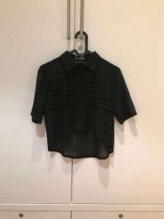 Alabel Black Crop Top (Size S)