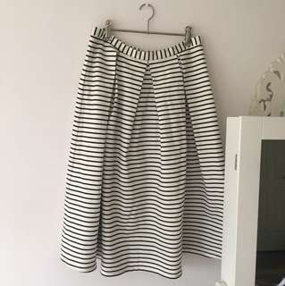 Forever New black and cream striped skirt