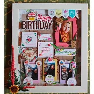 Birthday Gift Scrapframe Style Vintage Dekorasi Dinding