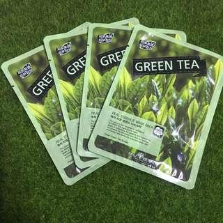 Brand New 4pcs Green Tea Korean face mask sheet