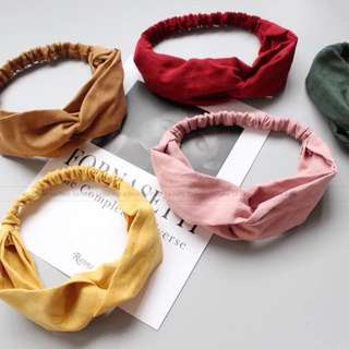 Plain color hair bands - available in khaki, red, pink and yellow