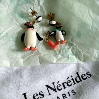 Les Nereides N2 penguin earrings