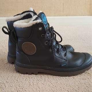Palladium black leather waterproof sheepskin lined boots