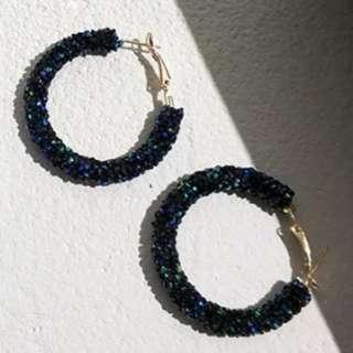 Swarovski 款 深藍彩閃大耳環