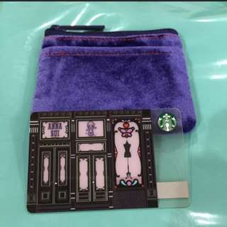Brand new anna sui starbucks card and pouch