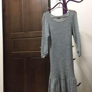 Bershka氣質灰色針織拼接洋裝