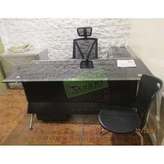 GLASS TOP EXECUTIVE TABLE ,STAFF TABLES, MESH CHAIRS--KHOMI