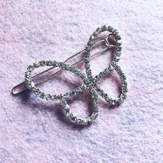 韓式 水晶閃石蝴蝶🦋邊夾 髮夾