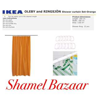 IKEA OLEBY AND RINGSJÖN Shower curtain Set- Orange
