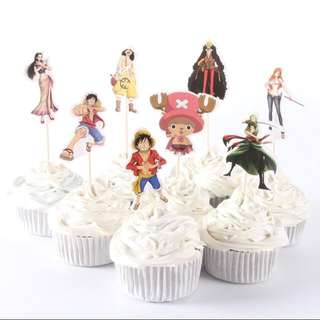 8 pcs One Piece Cupcake Toppers Cake Topper Muffin Decoration Baking Picks Birthday Party Anime Luffy