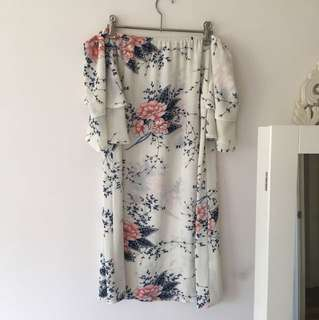 Off white floral off shoulder dress