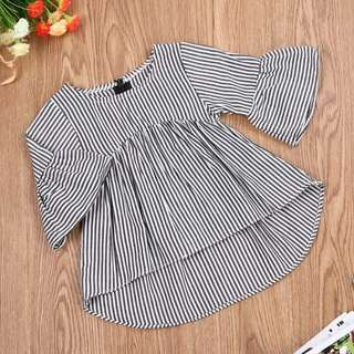 Newborn Baby Girl Flare Sleeves Striped Dress🍀