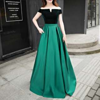 dual tone green dress / evening gown