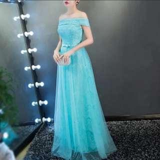 Off shoulder blue green dress / evening gown