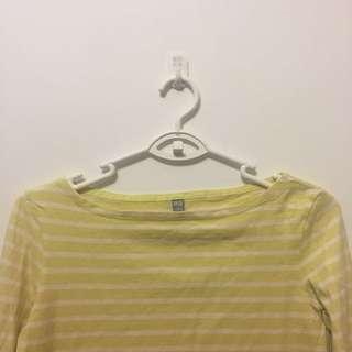 Uniqlo yellow white stripe top