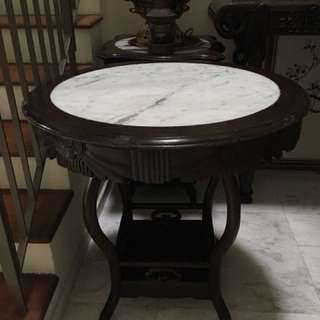 Antique Blackwood Round Marble Table