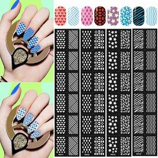 6pcs/set Black Reusable Stamping Tool DIY Nail Art Hollow Nail Sticker Stamp Stencil Nail Template JAN16