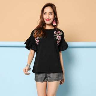 (PO) Tightly Wound Florals Embroidered Top