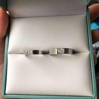 對裝18k白金鑽石介子
