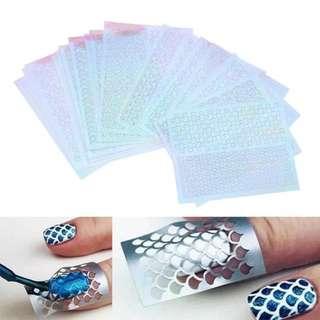 6 Sheets DIY Nails Irregular Grid Stencil Reusable Nail Art Vinyls Hollow Stickers Stamping Template Nail Tools