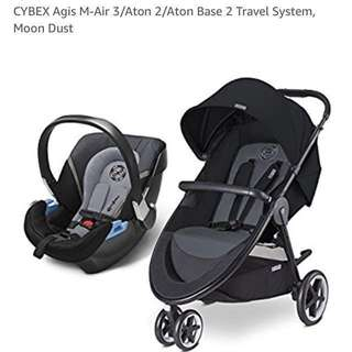 Cybex travel stroller, infant car seat and base