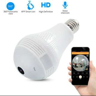360 degree panoramic 960p hidden camera light bulb