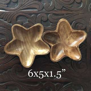 Star Acacia Wood Serving Dish, Set of Two