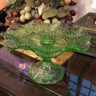 "Large 7.5"" green footed scalloped plate"