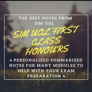 SIM-UOL FIRST CLASS HONOURS personalized notes