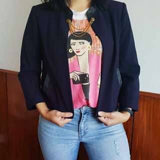 Forever 21 Cropped Blazer with Gold Chain (Repriced)