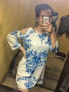Cut off white blue dress