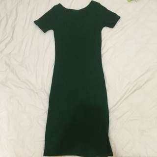 Dark Green Knitted Bodycon Dress