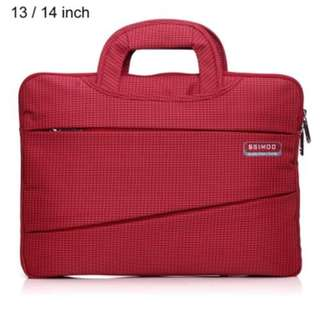 SSIMOO 2 IN 1 BUSINESS STYLE LAPTOP BAG TABLET ZIPPER POUCH SLEEVE FOR MACBOOK 13 / 14 INCH (RED) -