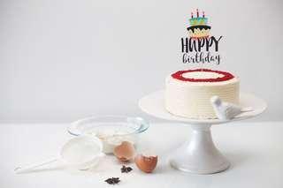 Customized sticker acrylic Happy Birthday topper