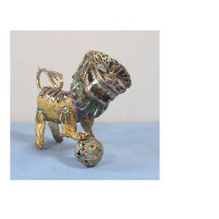 Antique cloisonne vermeil silver foo dog early to mid 1900-s unused c