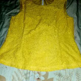 Atasan lace yellow