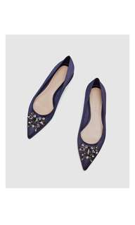 Bnew ZARA BEJEWELLED BLUE SATIN BALLERINAS MANOLO BLAHNIK INSPIRED