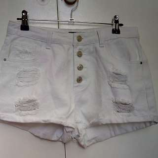 White denim ripped shorts