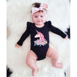 Unicorn long sleeve romper