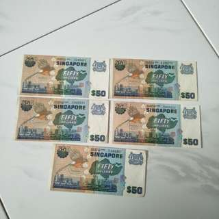 Bird Series $50 old notes  5pc x $60