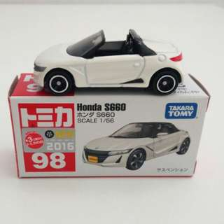 TOMICA No.98 HONDA S660 - White (First day release sticker)
