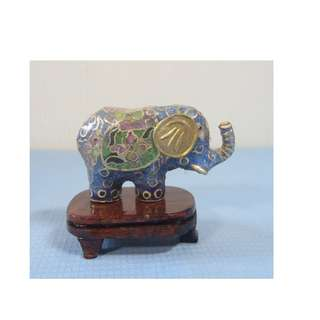 Vintage cloisonne miniature elephant wood stand circa 1950s retired unused