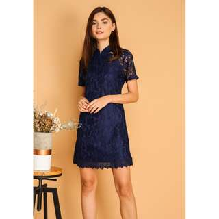 TSW Dililah Qipao Lace Dress In Navy - Size S